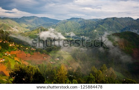 Beautiful landscape in southwestern Uganda, at the Bwindi Impenetrable Forest National Park. The Bwindi National Park is a UNESCO-designated World Heritage Site, home of the mountain gorillas. - stock photo