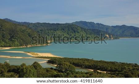 Beautiful landscape in the Abel Tasman National Park, New Zealand. Awaroa Bay. - stock photo