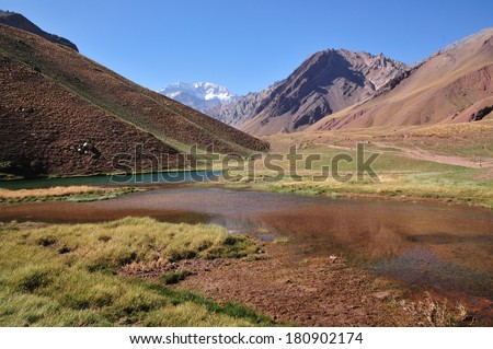 Beautiful landscape in the Andes with Aconcagua