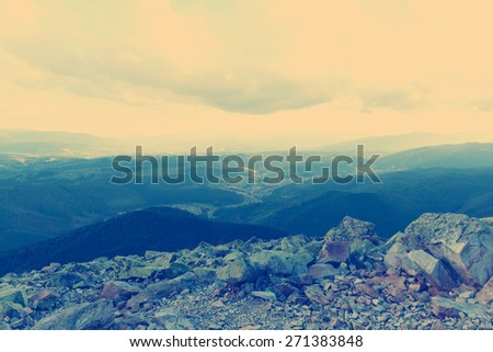 Beautiful landscape in the Carpathian mountains at sunset.Vintag - stock photo