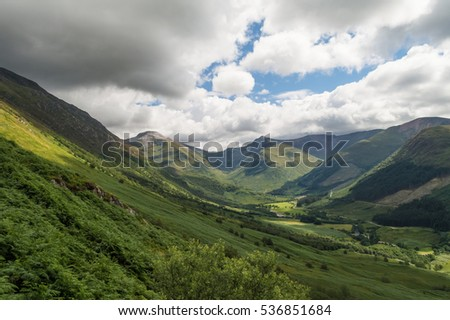 Beautiful landscape in the highlands from the summit of Ben Nevis mount, Scotland