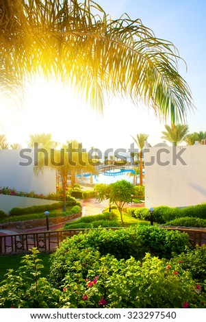 Beautiful landscape in the hotel of Egypt - stock photo