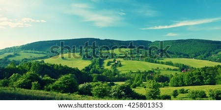 Beautiful landscape in the mountains in summer. Czech Republic - the White Carpathians - Europe. Panorama photo.