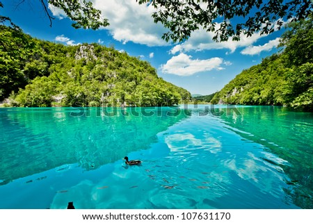Beautiful landscape in the Plitvice Lakes National Park in Croatia - stock photo