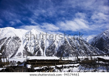 beautiful landscape in tibet with blue sky and white cloud