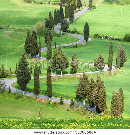 Beautiful landscape in Tuscany with sinuous road and yellow bus - stock photo