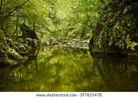 Beautiful landscape in various colors, dreamy look. Nature reflections in water