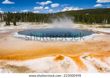 beautiful landscape in Yellowstone nations park with stemming geysers and vivid colors - stock photo