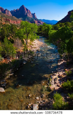 Beautiful Landscape in Zion National Park,Utah - stock photo