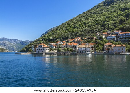Beautiful landscape Kotor bay (Boka Kotorska) near the town of Tivat, Montenegro, Europe. Kotor Bay is a UNESCO World Heritage Site.