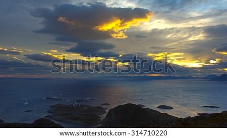 Beautiful landscape Lofoten Islands in Norway at night - stock photo