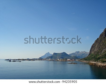 Beautiful landscape Lofoten Norway - stock photo