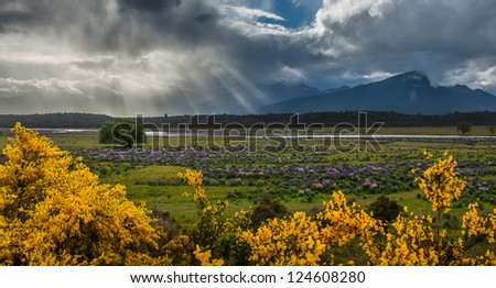 Beautiful landscape mountains and lake south island, New Zealand - stock photo