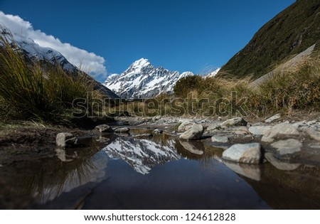 Beautiful landscape Mt.Cook national park, South island New Zealand - stock photo