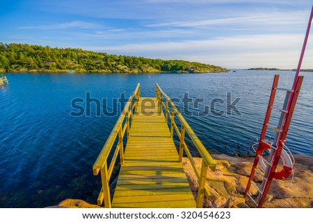 Beautiful landscape of a dock in the west coast of Sweden during the summer