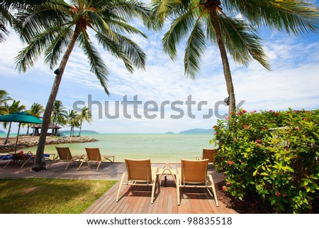 Beautiful landscape of a tropical resort beach - stock photo