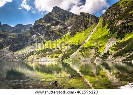 Beautiful landscape of Black Pond Gasienicowy in Tatra Mountains, Poland - stock photo