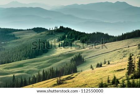 beautiful landscape of Carpathian Mountains. sunset / sunrise - stock photo