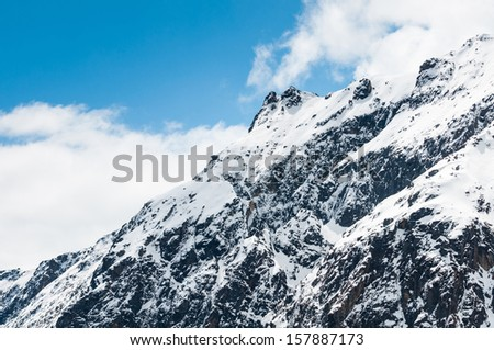 Beautiful landscape of Chopta valley with Snow covered beautiful mountain peaks against the blue sky at north Sikkim India