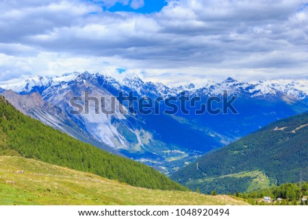 Beautiful landscape of Dolomites Italian Alps from Foscagno Pass, Sondrio, Lombardy, Northern Italy.