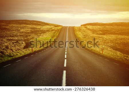 Beautiful landscape of empty highway road - stock photo