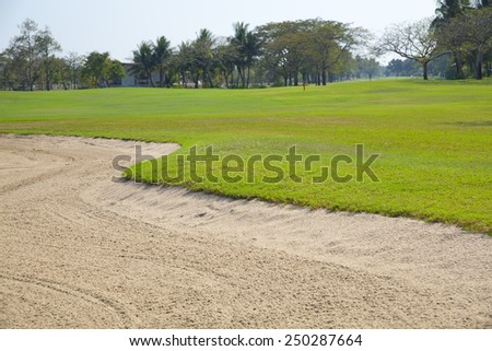 Beautiful landscape of golf course and sand - stock photo