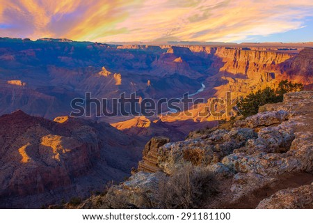 Beautiful Landscape of Grand Canyon from Desert View Point with the Colorado River visible during dusk