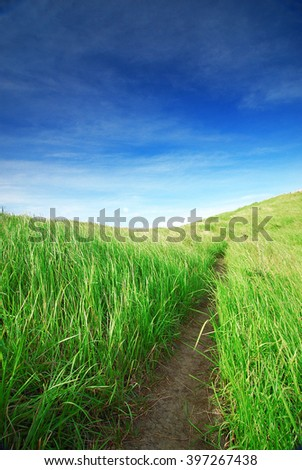 Beautiful landscape of green field blue sky path at Broga Hill, Malaysia - stock photo