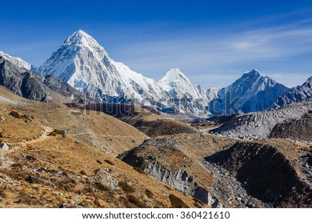 Beautiful landscape of Himalayas mountains on the way on Everest Base Camp trek  in Sagarmatha National Park in the Nepal, Himalaya - stock photo