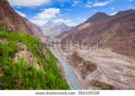 beautiful Landscape of Hunza Valley in Autumn season. Northern Area of Pakistan - stock photo