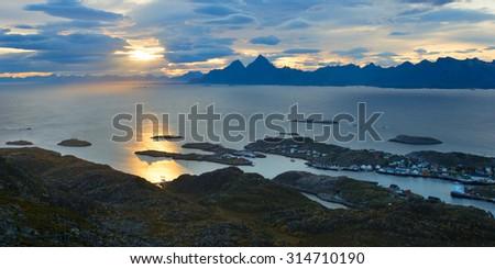 Beautiful landscape of Lofoten in Norway - stock photo