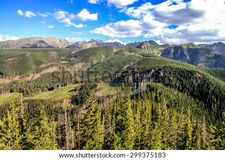 Beautiful landscape of mountains. Panorama of the polish Tatra Mountains, view from the top of Nosal, Zakopane, Poland