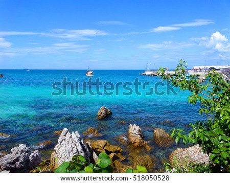 Beautiful landscape of Pattaya, Thailand. Kho Larn island seascape with beach. Travel photography