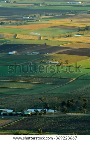 Beautiful landscape of rolling hills at sunset view from top of mt. France National Park, Queensland, vertical