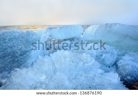 Beautiful landscape of the Baltic sea with rubble ice  - stock photo