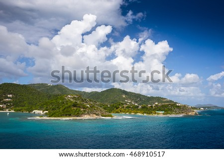 Beautiful landscape of the coastline of the British Virgin Islands