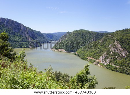Beautiful landscape of the Danube's defile between Romania and Serbia.