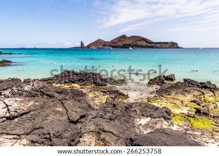 Beautiful landscape of the Santiago Island, Galapagos Islands, Ecuador - stock photo