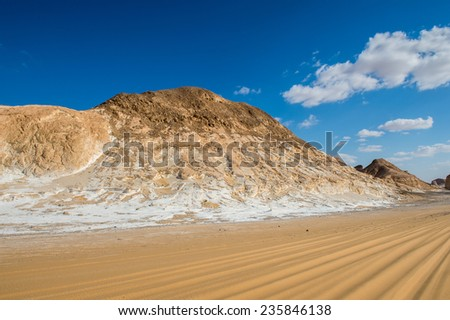 Beautiful landscape of the Western White Desert, main geographic attraction of Farafra.