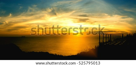 "Beautiful landscape of warm golden light at sunset times on ""Koh Larn"" Pattaya, Thailand, which is one of the popular island for tourists, panorama"