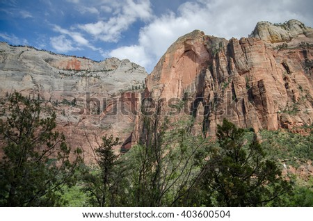 Beautiful  landscape of  Zion National 'Park under blue sky. Utah. USA - stock photo