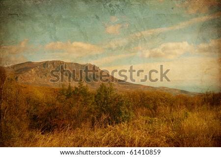 beautiful landscape on the grunge background - stock photo