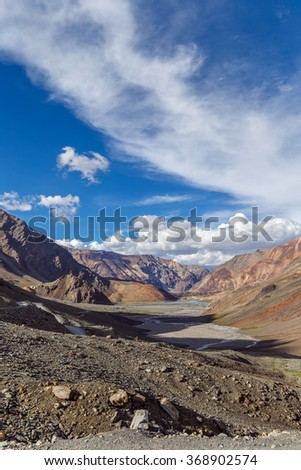 Beautiful landscape on the Leh - Manali highway near the Keylong - Tibet, Himalayas, Himachal Pradesh, Northern India