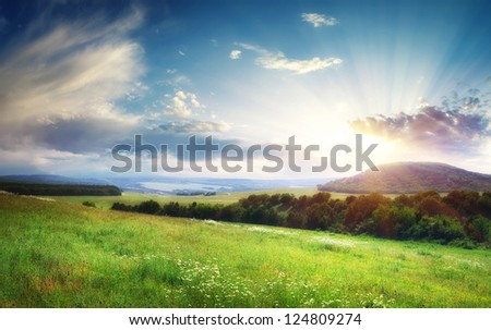 Beautiful landscape panorama. Nature composition. - stock photo