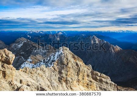 Beautiful landscape panoramic view of Himalayas, himalayan mountains, Nepal. - stock photo