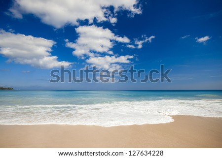 Beautiful landscape picture of a white sand tropical beach - stock photo