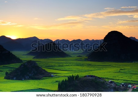 Beautiful landscape rapeseed field or canola flower field wiht sunrise a blue sky in spring, Luoping at China - stock photo