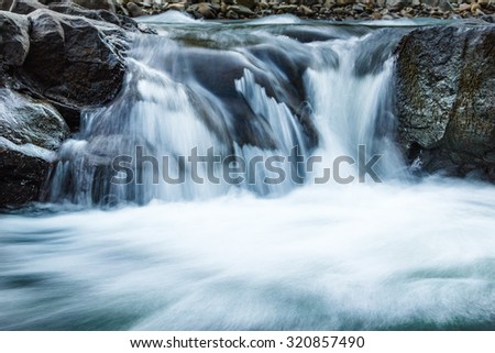 Beautiful landscape rapids on a mountains river.