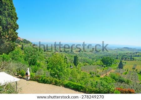 beautiful landscape seen from San Gimignano, Italy - stock photo