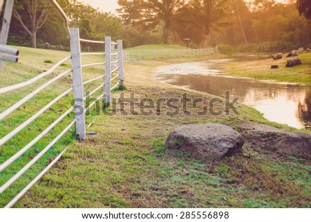 beautiful landscape Small river stream in sunset time - stock photo